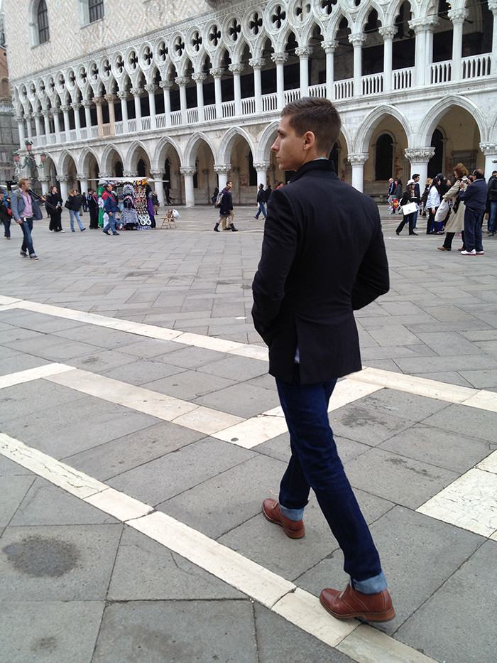 Adam walking in Venice