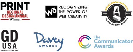 Integrated Marketing awards from Print, Davey Awards, GD Usa, The communicator Awards, Adrian Awards, and more.