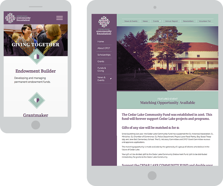 Crown Point Community Foundation Responsive Website Redesign