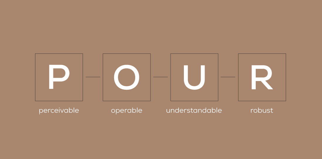 Perceivable, operable, understandable and robust accessibility graphic - POUR